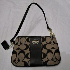 Authentic Coach Black and Tan Wristlet Wallet